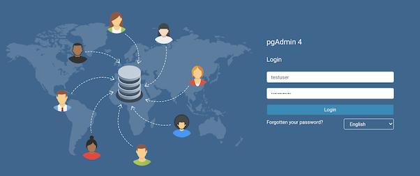 pgAdmin 4 Login Page