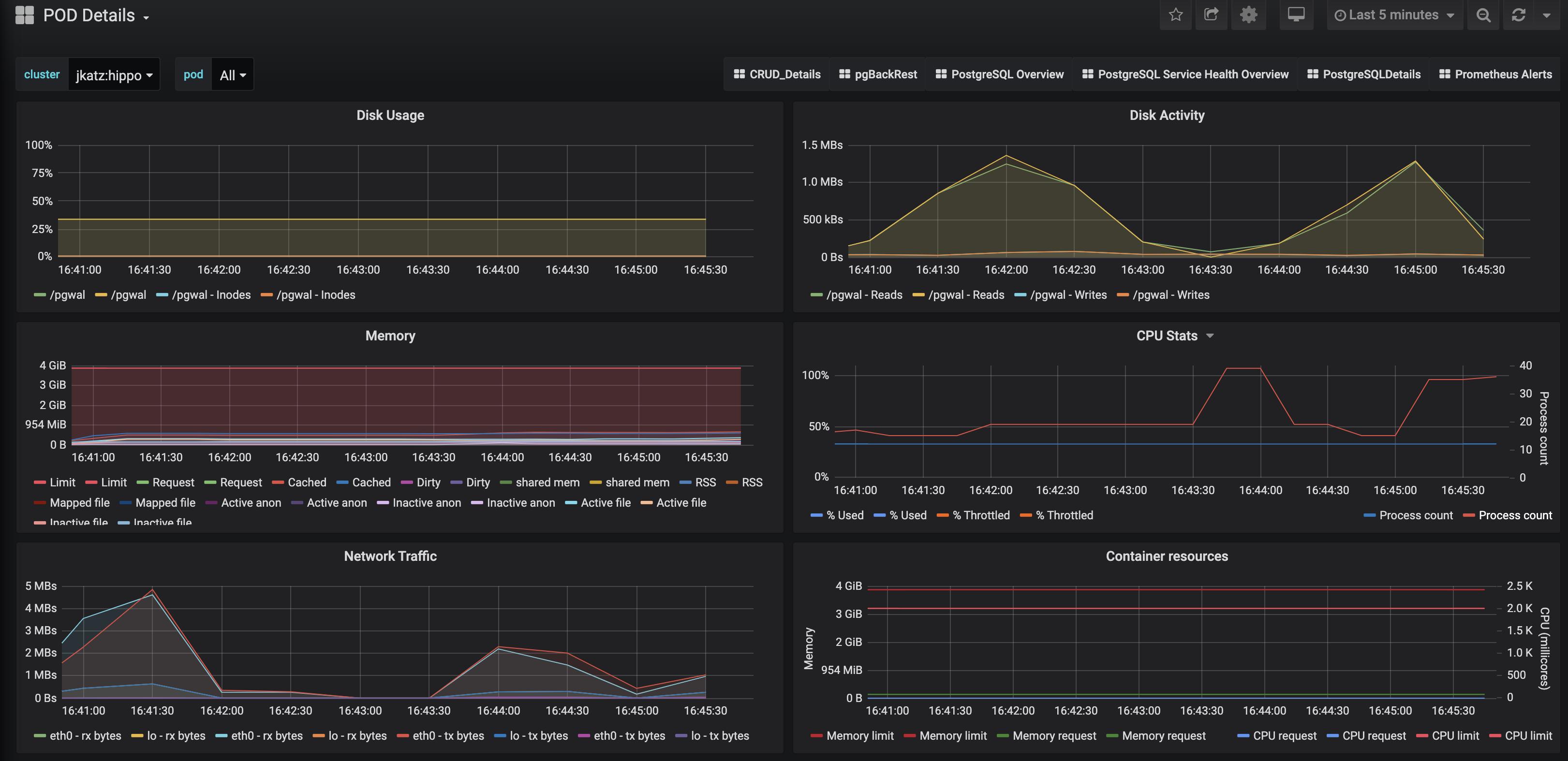 PostgreSQL Operator Monitoring - Pod Details
